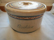 Vintage Old Red Wing Gray Line Sponge Band Cookie Jar With Lid Stoneware