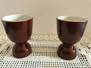 Coffee Cups Two Beautiful Ceramic Brown W/ Gold Plated Rims 41/4 Sold As A Pair