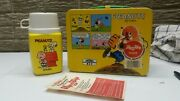 New Green Handle 1971 Peanuts Snoopy Metal Lunchbox With Thermos Lunch Box
