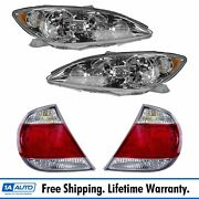 4 Piece Chrome Bezel Headlight And Tail Light Lamp Kit Set For Toyota Camry Xle Le