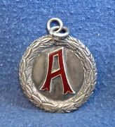 Antique Anderson Trophy 5 Miles Race Sterling Silver With Red Enamel A Medal