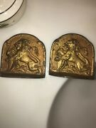 Antique Majestic Lion Bookends Pair Of Vintage Gothic Lion Book Ends C. 1920and039s