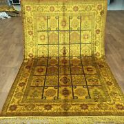 New 4and039x6and039 Golden Garden Scene Silk Hand Knotted Carpets Decor Vintage Rugs G29ab