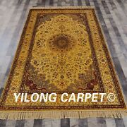 Yilong 5and039x8and039 Golden Antique Vintage Carpets Handmade Silk Classic Rugs G49c