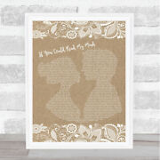 If You Could Read My Mind Burlap And Lace Song Lyric Art Gift Print