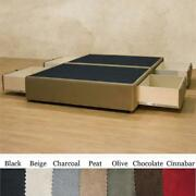 Full Size Charcoal Microfiber Upholstered Platform Bed With 4 Storage Drawers