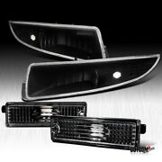 1993-2002 Chevy Camaro Front+rear Side Marker Black Signal Lamps Bumper Lights