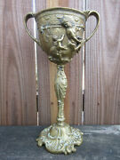 Antique Baroque Depose Brass Repousse Chalice Goblet 12 Heavy 3 Lbs.3.2 Oz.