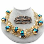New Fashion 4 Rows Pearl Blue Murano Class Chain Necklace 19 Women's Jewelry
