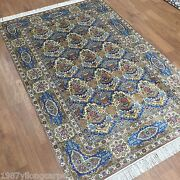 Yilong 4and039x6and039 Vintage Blue Handmade Silk Oriental Classic Area Rugs Carpets L12a