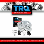 Trq Front And Rear Ceramic Brake Pad And Drilled Slotted Zinc Performance Rotor