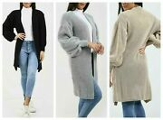 New Women Ladies Open Front Style Knitted 3/4 Length Ballon Sleeve Cardigan