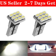 2x White T10 192 194 9smd Wedge Dome Map License Plate Led Interior Light Bulbs