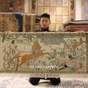 Yilong 4.4and039x2and039 Egypt Tapestry Area Rug Tribal Hand Knotted Silk Carpets L114a