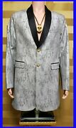 New Versus Versace Silver Coat Jacket With Leather Inserts 48 - 28