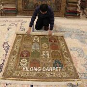 Yilong 4and039x6and039 Golden Four Seasons Silk Rugs Handmade Carpets Hand Knotted 0121