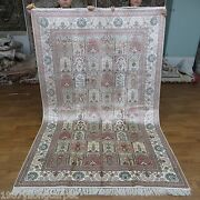 Yilong 5and039x8and039 Handmade Silk Classic Carpet Hand-knotted Four Season Area Rug 458b