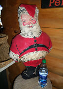 Large 27 Vintage Mountain Woods Finished Cut Sew Stuffed Santa Doll Shabby Look