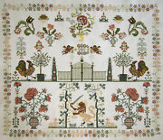 Wow Dutch Completed Cross Stitch Reproduction Sampler Flowers Lion Angels