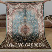 Yilong 4'x6' Classic Silk Rugs Hand-knotted Medallion Floor Decor Carpets 0623