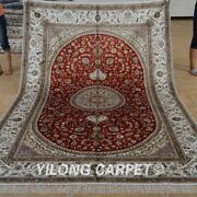 Yilong 6and039x9and039 Red Hand Knotted Area Rugs Medallion Handmade Silk Carpet 1240