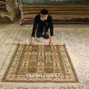 Yilong 4and039x6and039 Four Season Silk Handmade Area Rug Antique Hand Knotted Carpet 146b