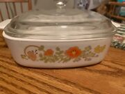 Vtg Corning Ware Wildflower 1 Qt Casserole And Lid