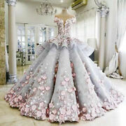 Flower Applique Quinceanera Dress Gorgeous Formal Prom Pageant Wedding Ball Gown