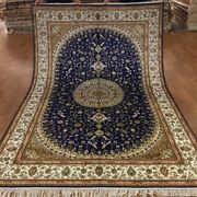 Yilong 6and039x9and039 Blue Hand Knotted Area Rugs Vintage Silk Classic Arts Carpet W368c