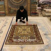 Yilong 4and039x6and039 Pictorial Handmade Silk Area Rugs Classic Hand-knotted Carpets 1916