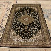 Yilong 4and039x6and039 Green Medallion Handmade Carpet Top Hand Knotted Silk Area Rug 260a
