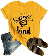 Dresswel Be Kind Tshirt Women Short Sleeve T-shirt Bee Graphic Tee Long Sleeve P