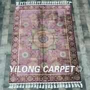 Yilong 3.5and039x5.2and039 Classic Silk Carpets Purple Antique Hand Knotted Area Rug C03a