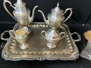 Vintage Silver Plated Tea Set With Footed Tray Cream Andsugar With 2 Coffee Pots
