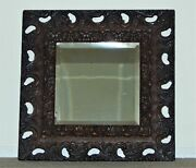 Antique Ornate Carved Wood 18 Square Wooden Picture Frame Beveled Glass Mirror