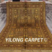 Yilong 6and039x9and039 Antique Wash Golden Carpet Hand Knotted Classic Silk Area Rug G13c