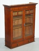Mahogany Little Wall Bookcase/cabinet With Glazed Doors