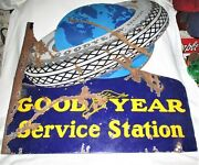 Antique Goodyear Balloon Service Station Oil Gas Dbl Porcelain Advertising Sign