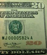 2013 Series Banknote 20 Dollar Bill Low Trinary Serial Number 00005824 325