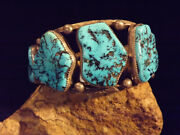 Navajo Old Pawn Kingman Mine Turquoise And Sterling Silver Hand-wrought Bracelet