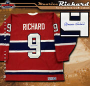 Maurice Richard Signed Montreal Canadiens Red Ccm Vintage Jersey