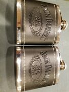 2 Jack Daniels Old No. 7 Flask Embossed Black Leather-covered Stainless 5 Oz.
