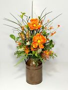 Spring Summer Flowers Country Kitchen Floral Arrangement Mini Milk Can Metal New