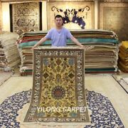 Yilong 3.5and039x5.75and039 Golden Silk Tapestry Antique Carpet Hand Knotted Area Rug 311h