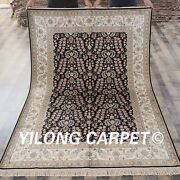 Yilong 5and039x8and039 Black Handmade Silk Area Rug All Over Hand Knotted Carpet Sale L38b