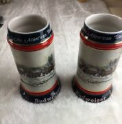 Lot Of 2 1990 Budweiser Holiday Stein