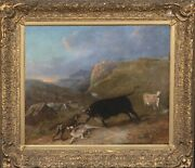 Large 19th Century Bull And Wolf Fight Mountain Landscape Antique Oil Painting