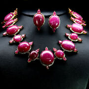 Natural Set Bir Size Gemstone Red Ruby Topaz Necklace With Earrings 925 Silver