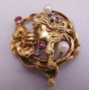 Art Nouveau 14k Gold Ruby Peal Diamond Maiden Lady Floral Pansy Daisy Pin