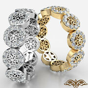 Round Diamond Flower Eternity Womenand039s Wedding Band In Gold Ring 0.90 Ct.